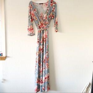 Boutique Floral Faux Wrap Maxi Dress